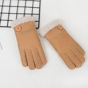 Fashion-High Quality Ladies Модные повседневные кожаные перчатки Термальные перчатки Женские шерстяные перчатки