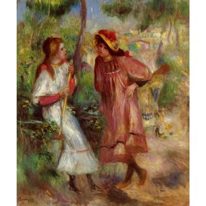 Pierre Auguste Renoir painting Two Girls in the Garden at Montmartre hand painted oil painting canvas wall art bathroom decor