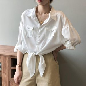 Early Autumn 2020 New Retro Style Loose Lace-up Design Shirts White Crop Top Women Blouses Streetwear
