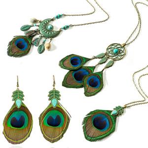 2019 Nuevo estilo Tassel Peacock Feather Bohemio Collar Largo Shell Suéter Cadena de cuero Charm Joyas Ropa Accesorios Regalos