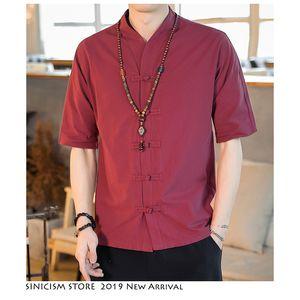 Sinicism Store Men Streetwear Harajuku Button Solid Shirts 2019 Mens Chinese Style Linen Shirt Summer Vintage Shirt Big Size