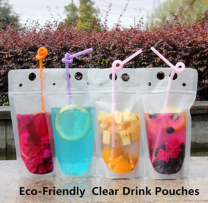 500pcs Clear Drink Pouches Bags frosted Zipper Stand-up Plastic Drinking Bag with straw with holder Reclosable Heat-Proof 500ml Free ship