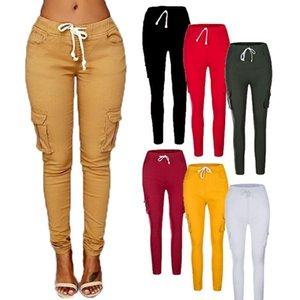 CELAN kNOEI2400 # 8 di colore S-4XL casuale delle donne Pocket lungo tratto a matita i pantaloni Pantaloni a sigaretta Jeggings