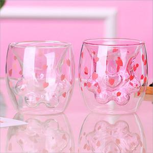 ستاربكس كأس القط القدم المحدبة بالجملة ستاربكس القط باو القدح القط مخلب القهوة القدح لعب ساكورا 6 أوقية الوردي مزدوجة الجدار الزجاج القدح