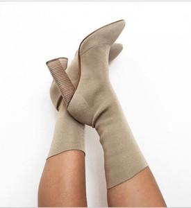 Hot Sale-Frauen stilvolle Strickstiefel Blockabsatz spitzen Zehen halb / lange Stiefel war dünn Größe High Heels Laufsteg Schuhe sexy Booties