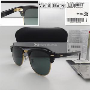 Lente de Vidro de alta qualidade 51 MM Marca Designer de Moda Homens Mulheres Plank frame Revestimento Óculos De Sol Do Esporte Do Vintage óculos de Sol Com caixa