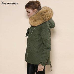 Soperwillton inverno del rivestimento del cappotto delle donne Outwear parka con cappuccio grande collare procione pelliccia reale femmina femminile inverno cappotti Jacket