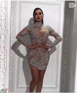 Yousef Aljasmi Frisado Prom Vestidos de Gola Alta Mangas Compridas Formal Evening Vestidos Mini Vestidos de Festa de Formatura de Luxo Custom Made Plus Size