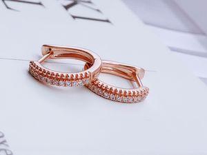 Fine Jewelry 18k Solid Rose Gold diamond horseshoe diamond earrings jewelry for Women jewelry earring wholesal