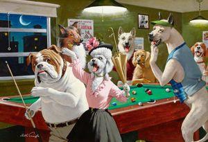 Pinturas de aceite de impresión Arthur Sarnoff Saron perros jugando Pool Home Decor pintado a mano de alta definición en la lona Wall Art 191,112 Fotos