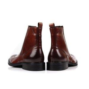 Vintage Brogue Erkek Botları Gerçek Deri İş Erkek Günlük Ayakkabılar Kanat İpucu İş Güvenliği Botaş Kaya Kış Punk ayakkabı