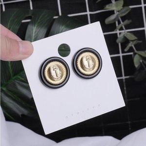 Moda-lacivert düğme stili küpe kadın Kore kişilik tasarım anlamda Earrings ins vahşi mizaç küpe gelgit