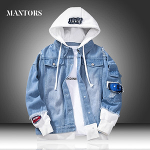 Men Denim Jacket 2020 New Spring Casual Men's Hooded Jean Jackets Bomber Hip Hop Streetwear Male Loose Outerwear Coats Slim Fit T200602