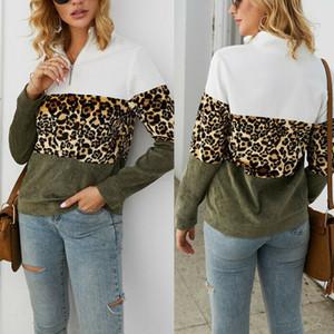 Piel de leopardo de moda sudaderas con capucha de manga larga floja del remiendo de la camiseta de las mujeres Top otoño Zip mujeres Streetwear