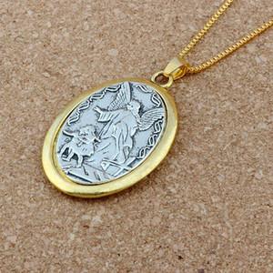 16pcs / lots ovales Dos - tono Católica patrón San Miguel el arcángel 23.6inches medalla colgante religioso Collares Colgante 31x47.5mm A-548d