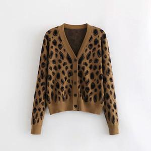 Kadın V yaka Tek göğsü Joker İnce Leopard Triko Örme Hırka Uzun Kollu Ceket Casual Bir Ölçü