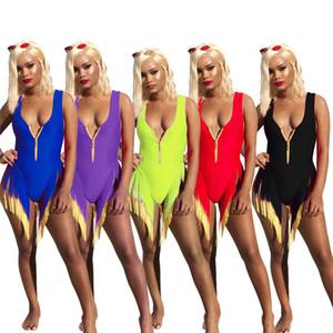 Maillots de bain pour femmes Maillots de bain une pièce Bikinis à glissière sans manches sexy sexy élégant combinaison solide couleur pure vêtements d'été maillots de bain 640