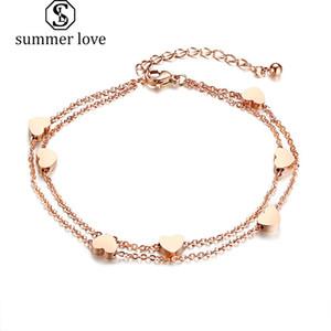 New Fashion Women Stainless Steel Heart Love Charm Bracelet Elegant Gold Silver Plating Adjustable Wrist Link Chain Bracelet Trendy Jewelry