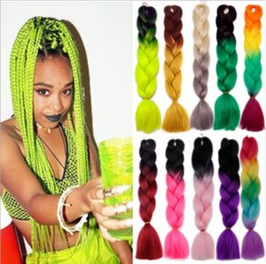 Black Yellow Kanekalon Ombre Braiding Hair Synthetic Crochet Braids Twist Braids Hair Ombre Jumbo Braid Hair Extensions Fast Free Shipping