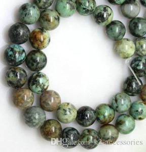 189 unids / lote 6 mm perlas africanas turquesas piedra redonda perlas sueltas piedras preciosas semipreciosas naturales DIY joyería