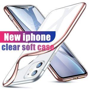 Für Iphone 11 Pro Max Fall XR XS MAX se S10 s20 Fall ultradünne Shock Resistant Metall Galvanotechnik weicher Gel-TPU Fall-Abdeckung Transparen
