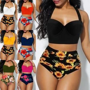 Suits 7 Cores Mulheres Two Piece Swimsuit girassol impressão Strapless Banda Sexy Praia Estilo New Verão banho