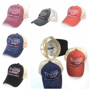 Trump Designer Gardez l'Amérique Great Letter Chapeau 2020 Casquette de baseball Bouchon de baseball brodé Capuchon de boule de tissu lavé de plein air Beach Hat Sun Visor YPP7283