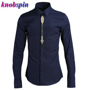 Gothic Embroidery Shirt men 2019 long sleeve Turn-down collar Clothes Classic Business male Dress Shirts Plus size M-4XL Camisas