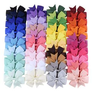 40 couleurs Kid filles cheveux clip Bow Barrette Hairbow épingle à cheveux Couleurs solides cheveux tête Grosgrain Accessoires Ruban