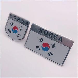 2019 New Fashion quality 3D Aluminum Korea Flag car Badge Emblem 3M sticker accessories stickers For VW Audi chevrolet honda Car Styling
