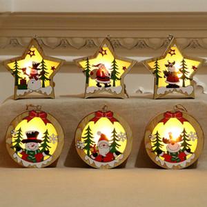 De noël En Bois Pendentif Lumineux Santa Claus Moose Bonhomme De Neige Lumineux Ornement De Noël Chaud À La Maison Partie Bureau Décorations