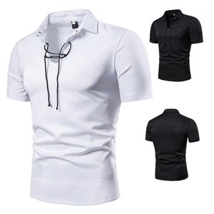 Turn-Down Collar Polos Mens Vestuário Mens Designer cordão Collar Polo Moda Natural Color manga curta Polo Casual