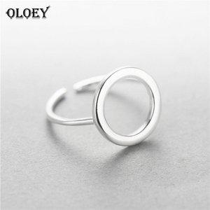 OLOEY настоящее стерлингового серебра 925 круглый круг открытые кольца для женщин личность простой стиль Леди анти-аллергия ювелирные изделия Ymr009