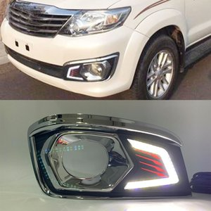 1 par LED DRL del coche luz del día luz antiniebla luces de circulación diurna con interruptor de arnés para Toyota Fortuner 2012 2013 2014