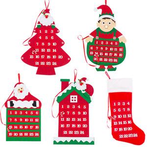 Christmas Countdown Calendar Non Woven Fabric Xmas Papai Noel Calendários macia Tapeçaria Calendário Feliz decorações de Natal