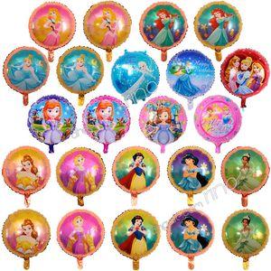 18 дюймов надувные день рождения баллоны принцесса украшения пузырь гелий фольга воздушный шар дети девушки с Днем рождения воздушные шары игрушки