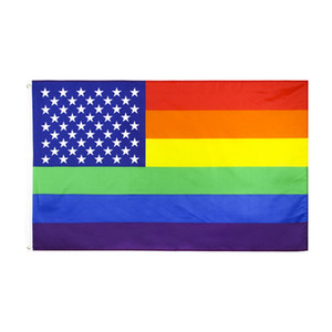 3x5ft Regenbogen-Flagge Bunte Streifen Flag 150 * 90cm Polyester Banner Two Sides Printed Homosexuell Pride-Regenbogen-Fahne freies Verschiffen HHA1418