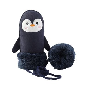 Kids Cute Cartoon Gloves Outdoor Cold Weather Mittens With String Synthetic Suede Fluffy Lined Mittens Windproof Warm Gloves