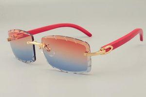 2019 الشحن المجاني الساخن بيع نمط شخصية منحوتة نظارات شمس 8100915 الذراع الأحمر الطبيعي جدا نظارات، للجنسين، عدسة 3.0 سمك
