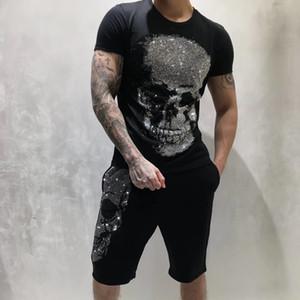 Yeni PP Erkek Tasarımcı Tişörtlü Lüks Paris moda tişörtleri Yaz Punk Rhinestone Skull tişört Erkek Üst Kalite% 100 Pamuk Hip Hop Tee