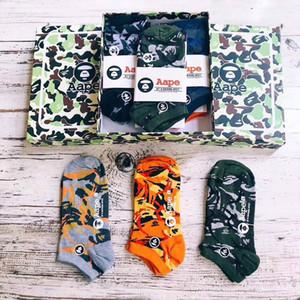 Mono de camuflaje calcetines cuatro estaciones cortocircuito del algodón de los calcetines Trendsetter la moda de Nueva hombres y mujeres calcetines clásico del estilo