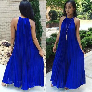 2020 White Maxi Dress Women Sexy Off Shoulder Party Halter Elegant Evening Summer Loose Fashion Solid Blue Pleated Long Dresses