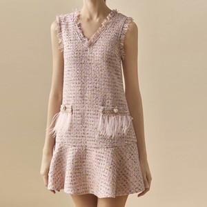 Sequins Boncuk Yıpranmış Fringe Seksi Kaba Yün V-Boyun Yelek Kolsuz Fishtail Kadınlar'S Mini Elbise 2020 İlkbahar Yeni Yüksek Kalite