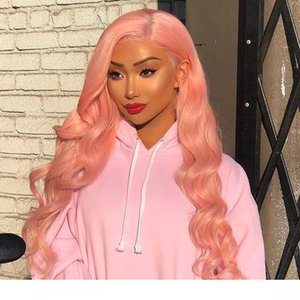 Pink Lacefront wigs Pre Plucked Hairline Body Wave Brazilian Virgin Glueless Pink Lace Front Human Hair wigss With Baby Hair