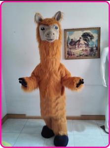 Halloween Brown Lange Plüsch Lama Maskottchen Kostüm Cartoon Kamel Anime Thema Charakter Weihnachten Karneval Party Kostüm Kostüme Erwachsene
