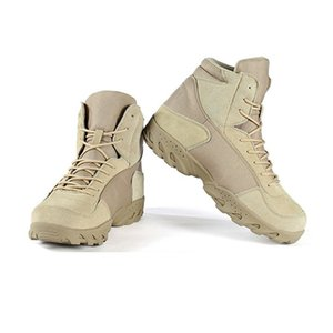Outdoor High-Top Army Suede Leather Desert Boots Men Safety Boots Special Forces Tactical Combat Boots Sport Lace-up Non-slip Hiking Shoes