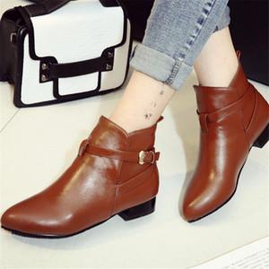 Hot Sale-Mulheres do retro lazer grandes saltos Ankle Boots sapatas da mulher sapatos casuais outono inverno mulheres bota western feminino