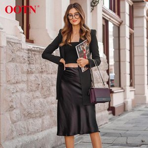 تنورة عارضة الحرير تنورة سوداء المرأة الصيف الخريف بطول الركبة مكتب سيدة ارتفاع الخصر أنيقة الحرير تنورة أزياء السيدات السفلى المشارب