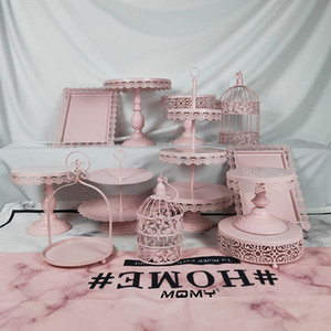 12 Stücke Hochzeit Tablett Metall Kristall 2 3 Tier Platte Großhandel Cupcake Gold Rosa Weiß Birdcage Tortenständer