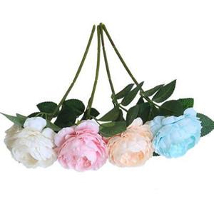 Peony boda Ramos de flores de seda artificial para el partido del jardín de las decoraciones falsas plantas de una sola cabeza Peony nupcial del ramo de la mano